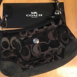 Coach black signature clutch purse suede bag Cute!